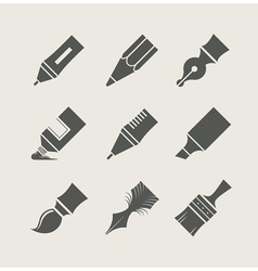 Pens and brushes for drawing vector image vector image