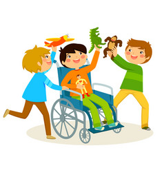 playing in a wheelchair vector image