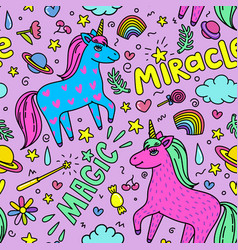 seamless magic pattern with handdrawn unicorns and vector image vector image
