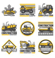 vintage colored construction vehicles emblems set vector image