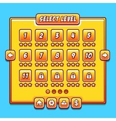 Yellow game menu level interface ui panels vector image vector image