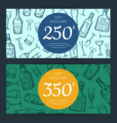alcohol drink bottles and glasses discount vector image