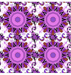 flowers on violet white and black colors seamless vector image