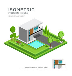 modern home isometric with lawn vector image vector image