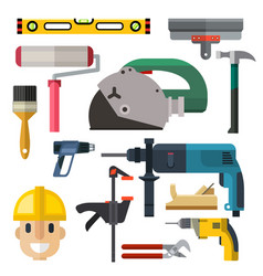 construction man and building tools carpenter vector image vector image