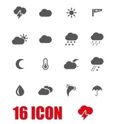 grey weather icon set vector image vector image
