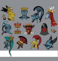 heraldic heads vector image vector image