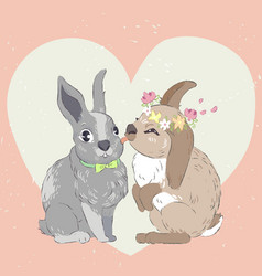 kissing rabbits vector image