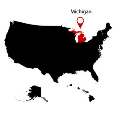 Map of the us state michiga vector