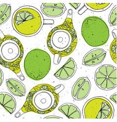 tea hand draw seamless pattern with teapot lemons vector image