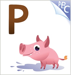 Animal alphabet for the kids P for the Pig vector image vector image