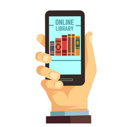 hand holding smartphone with books e-reading vector image