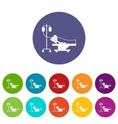 Patient in bed on a drip set icons vector image