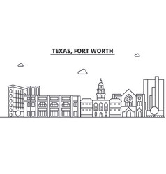 texas fort worth architecture line skyline vector image