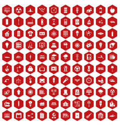 100 electricity icons hexagon red vector