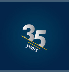 35 years anniversary celebration blue and white vector