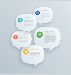 5 infographics with bubble speech template design vector