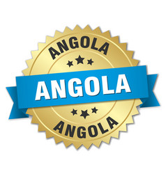 Angola round golden badge with blue ribbon vector