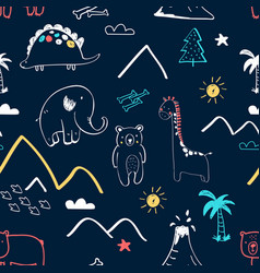 Animals seamless pattern print design vector