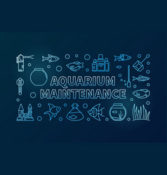 Aquarium maintenance blue banner on dark vector