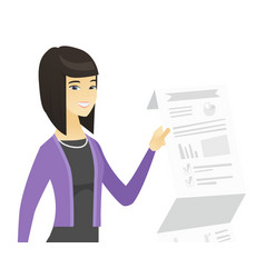 Asian business woman presenting business report vector