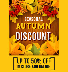 autumn sale banner with fallen leaves design vector image