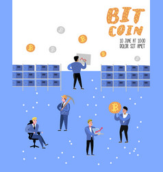 bitcoin concept with flat cartoon characters vector image