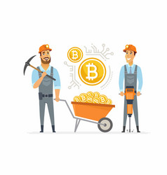 Bitcoin miners - cartoon people character isolated vector