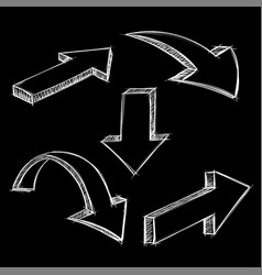 black arrows white sketch on black background vector image