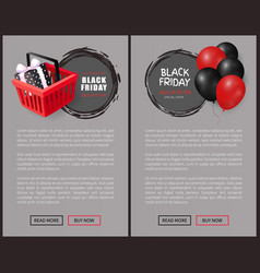 black friday balloons realistic 3d icons cart gift vector image