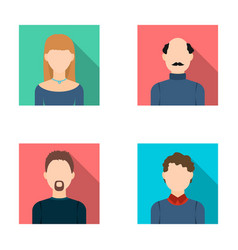 blond woman curly-haired teenager bald man with vector image