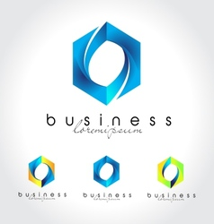 Blue business logo vector image
