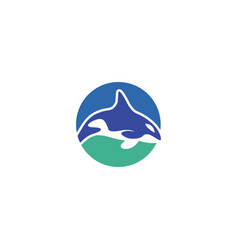 blue round whale orca elegant logo vector image