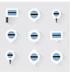 Botswana flag and pins for infographic and map vector