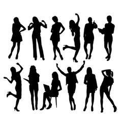 business woman activity silhouettes vector image