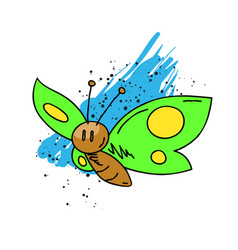 butterfly cartoon hand drawn image vector image