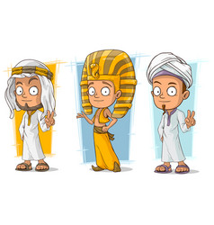 Cartoon arabian and egyptian character set vector