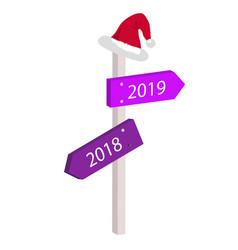 cartoon arrows between 2018 and 2019 vector image