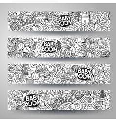 Cartoon hand-drawn sketchy baby boom vector image