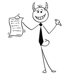 Cartoon of smiling devil businessman salesman vector