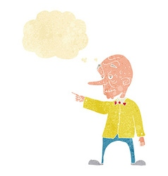 Cartoon old man pointing with thought bubble vector