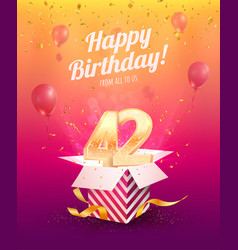 Celebrating 42 nd years birthday vector