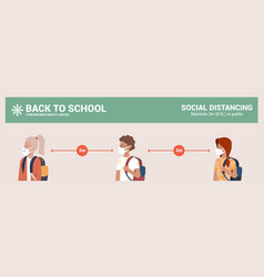 children with mask back to school infographics vector image