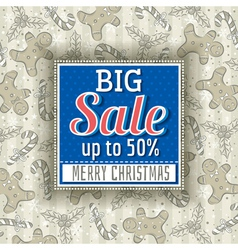 christmas background and label with sale offer vector image