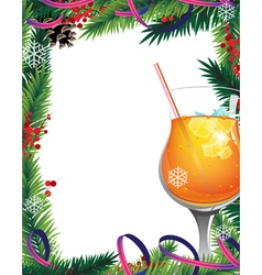 Christmas tree and cocktail vector image