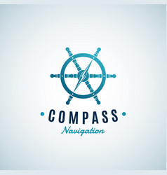 Compass navigation abstract sign emblem or vector