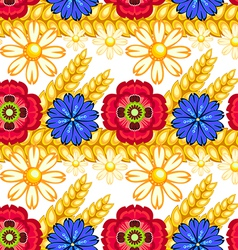 Cornflower camomile and poppy seamless pattern vector