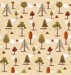 cute flat orange autumn forest trees pattern vector image