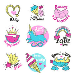 Cute magic emblems vector