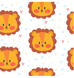 Cute seamless pattern for children with lion vector